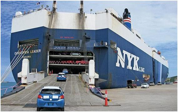 Car for export is loaded into a transport ship